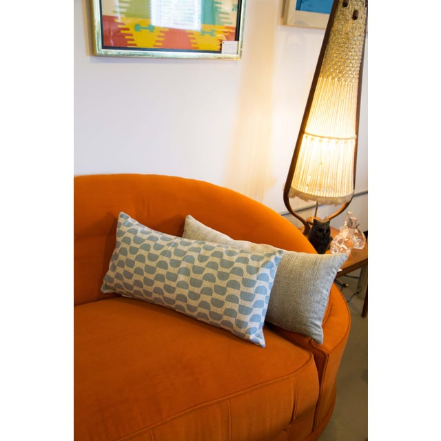 Feather Half Moon Patterned Blue Lumbar Pillow For Sale - Image 7 of 8