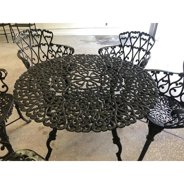 1960s French New Orleans Style Umbrella Dining Table and Chairs Patio Set For Sale - Image 5 of 10