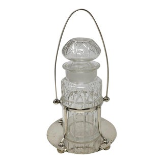 Vintage Crystal Pickle Jar in Silver Plated Stand, Henry Wilkerson & Co, London For Sale