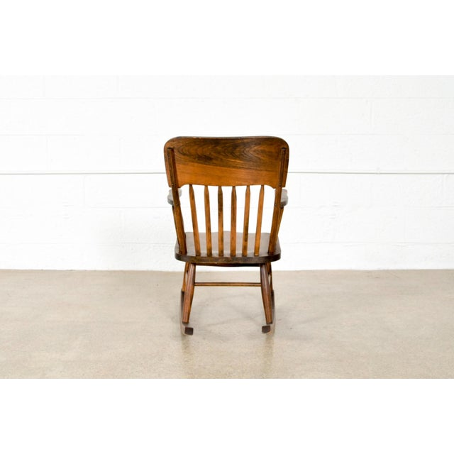 Walnut Antique Turn-of-the-Century Handcrafted Spindle Back Child's Wooden Rocking Chair For Sale - Image 7 of 8