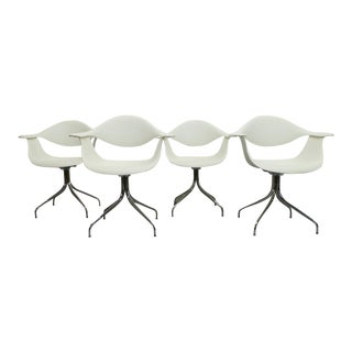 George Nelson, Herman Miller - White Swag Leg Molded Chairs - Set of 4 For Sale