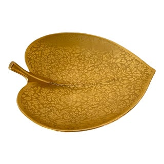 Vintage Wheeling Gold China Leaf Dish For Sale