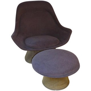 Vintage Warren Platner Knoll Easy Chair & Ottoman For Sale