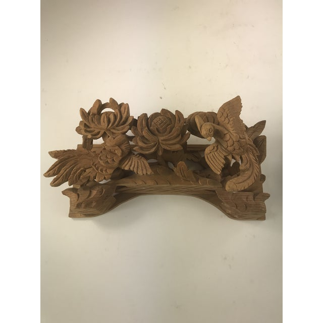 Asian 1980s Vintage Chinese Wood Carving Architectural Pieces- A Pair For Sale - Image 3 of 8