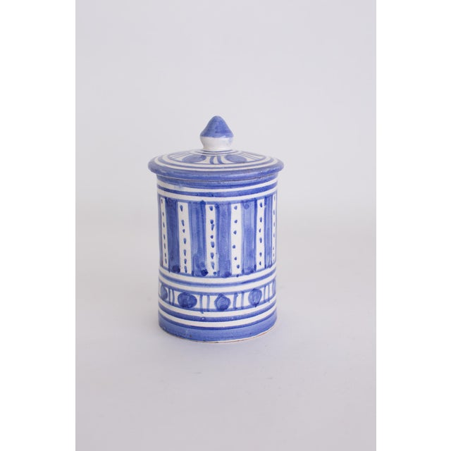 Islamic Hand Painted Moroccan Jar With Lid For Sale - Image 3 of 4