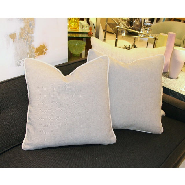 Grey & White Linen Textured Pillow - Image 4 of 4