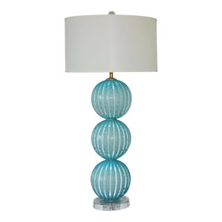 Murano Glass Table Lamp of Baby Blue With Bubbles and Gold Dust For Sale