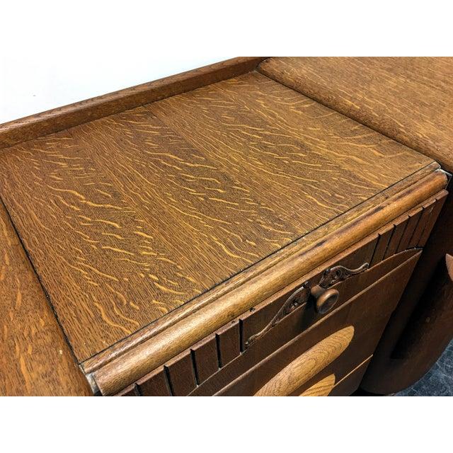 Harris Lebus Vintage Art Deco Tiger Oak Sideboard For Sale - Image 7 of 11
