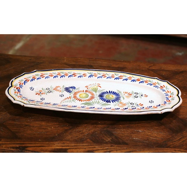 French Mid-20th Century French Hand Painted Faience Fish Platter Quimper Style For Sale - Image 3 of 7