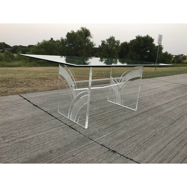 Art Deco Vintage Frosted Lucite Dining Table For Sale - Image 3 of 5
