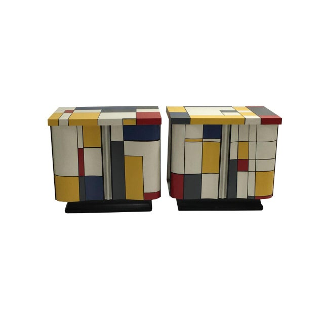 2000 - 2009 Pop Art Mondrian Inspired Nightstands - a Pair For Sale - Image 5 of 5