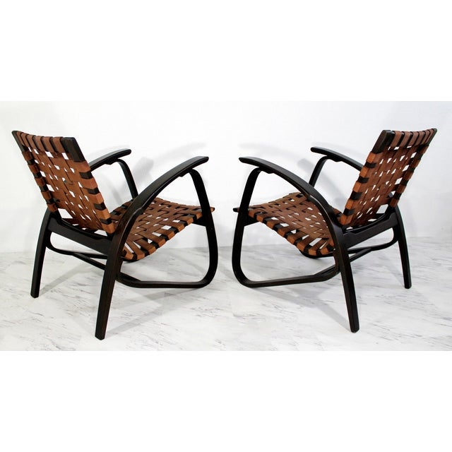 1930s Mid-Century Modern Jan Vanek Bentwood Easy Arm Chairs with Woven Straps - a Pair For Sale - Image 5 of 8