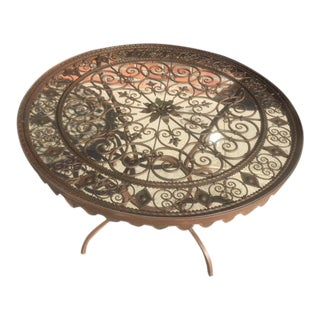 1950's Vintage Wrought Iron with Glass Top Round Table For Sale