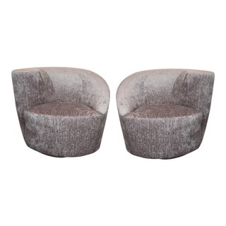 "Vladimir Kagan ""Nautilus"" Swivel Chairs in Gauffraged Silver Velvet - a Pair For Sale"