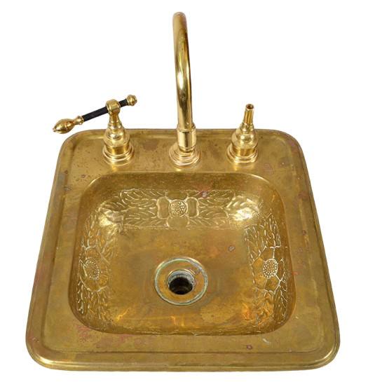 1920s Art Deco Brass Sink For Sale