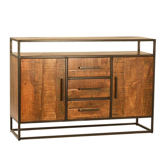Contemporary Mango Wood & Iron Sideboard W/Drawers For Sale - Image 3 of 3