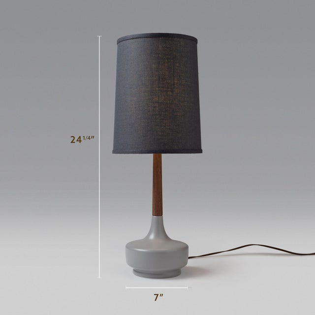 Grey Ceramic Base, Walnut Neck, Dark Grey Muslin Lampshade — Thoughtful attention to detail went into the making of this...