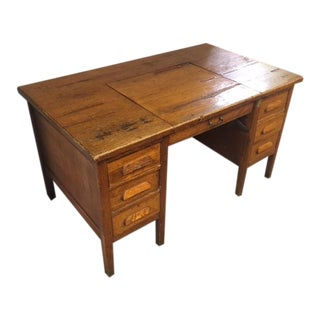 1940s Vintage Hidden Typewriter Compartment Desk For Sale