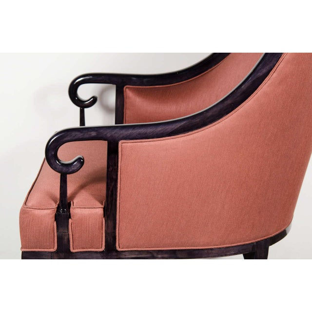 1960s Ultra Chic Pair of Mid-Century Scroll Arm Chairs with Spoon Back design For Sale - Image 5 of 7