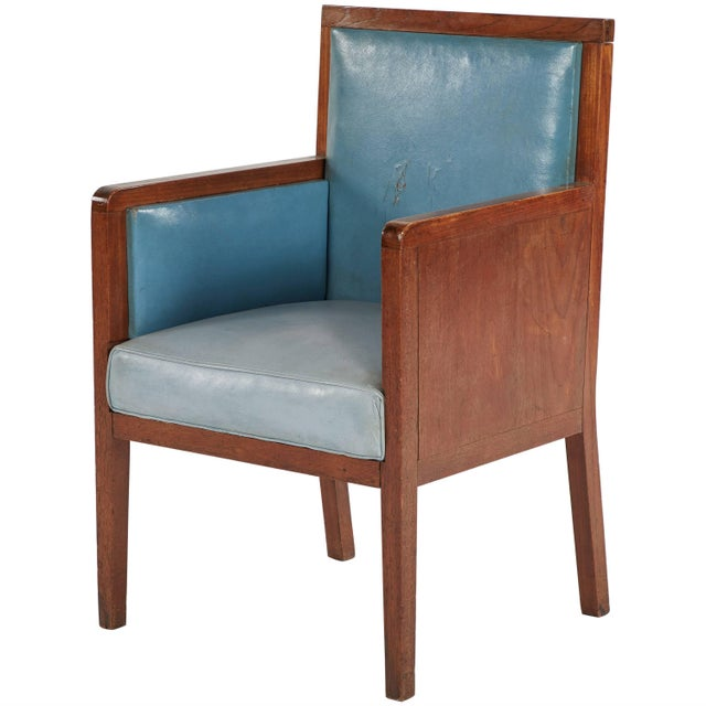 1930s Art Deco Wooden Armchair Upholstered in Blue Leather From France For Sale - Image 5 of 5
