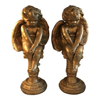 Decorative Angel Cherub Figures - Pair