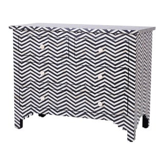 Inlaid Bone Four-Drawer Chest with Chevron Pattern For Sale