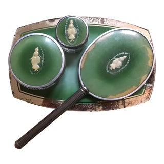 Green Celluloid 4-Piece Vanity Set - Set of 4