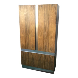 1970s Swedish Exceptionally Milo Baughman Zebrawood Armoire For Sale