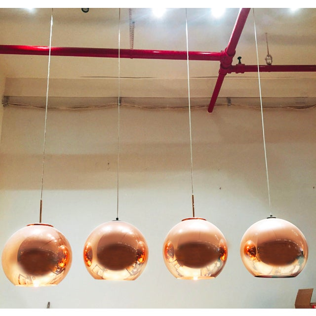 Contemporary Tom Dixon Copper Round Pendants - Set of 4 For Sale - Image 3 of 3