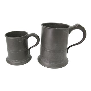 19th Century Pewter Tavern Tankards Pint & Half Pint - a Pair For Sale