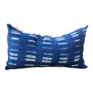 African Indigo Mud Cloth King Size Pillow Sham For Sale