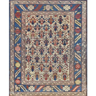 Handwoven Antique Wool Caucasian Rug For Sale