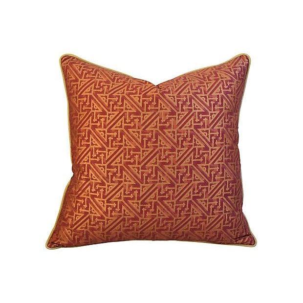 Custom Italian Mariano Fortuny Simboli Feather/Down Pillows - Pair - Image 3 of 10