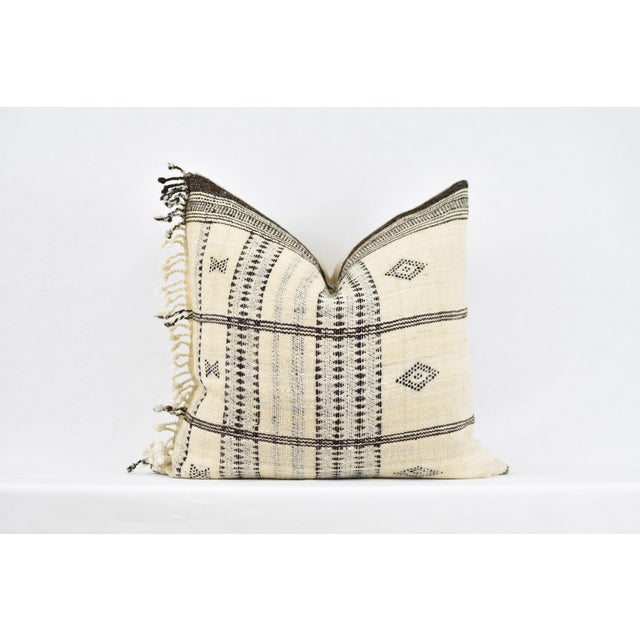 Asian Boho Chic Cream Indian Wool Blanket Pillow For Sale - Image 3 of 3