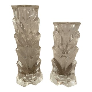 1970s Mid-Century Modern Crystal Candleholders- a Pair For Sale