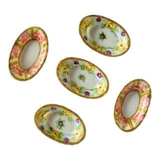 Antique Hand Painted Porcelain Floral Salt & Pepper Dishes - Set of 5 For Sale
