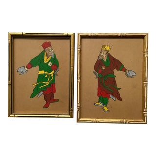 Japanese Figure Paintings in Faux Bamboo Frames - A Pair