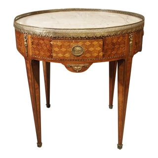 19th Century French 4-Drawer Marble Top Bouillote Table For Sale