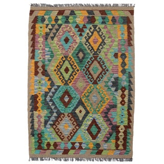 Afghan Kilim Handspun Wool Rug - 3′4″ × 4′9″ For Sale