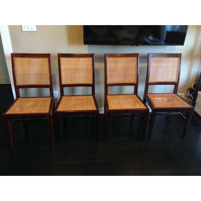 Crate & Barrel Cane Dining Chairs - Set of 4 - Image 2 of 9