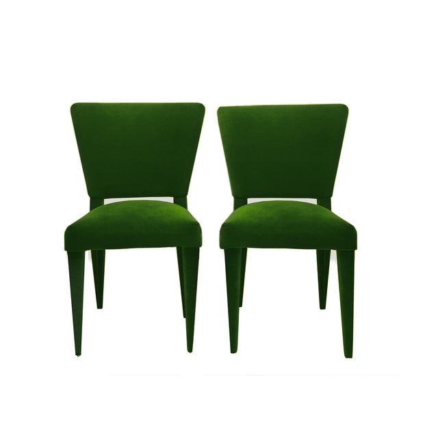 Exceptional Set of 1970's Style Dining Chairs, 100% upholstered in a Emerald Vegan Mohair. A phenomenal re-imagination of...
