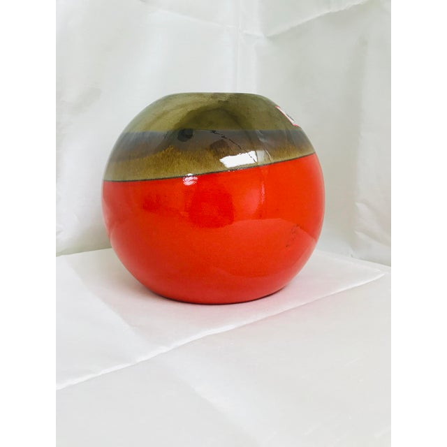 Bold contemporary round table vase in orange, hand made in Portugal by Destinos.