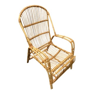1960s French-Style Bamboo and Rattan Chair Frame For Sale