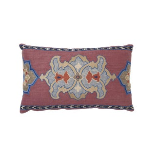 Schumacher Temara Embroidered Print Pillow in Pomegranate For Sale