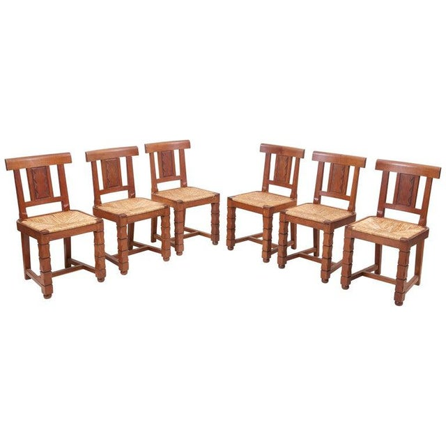 Set of Six Wooden Chairs by Jacques Mottheau, France, 1930s For Sale - Image 13 of 13