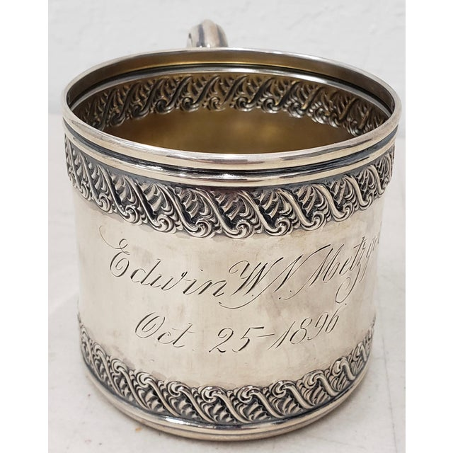 Late 19th Century Sterling Silver Christening Cup c.1896 Lovely christening presentation cup with sterling hallmarks. The...