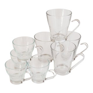 1970s Bormioli Rocco Italy Tempered Glass Beverage Set - 8 Pcs. For Sale