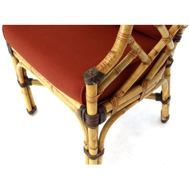Red McGuire 7 Pieces Bamboo Dining Set Round Glass Top Table Two Arm Chairs Leather For Sale - Image 8 of 13