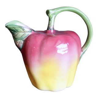 Italian Glazed Ceramic Apple Pitcher For Sale