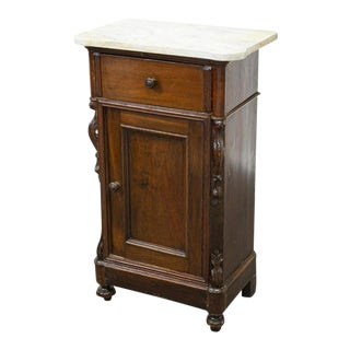 Parisian Louis Philippe Carved Walnut Nightstand Cabinet or End Table For Sale